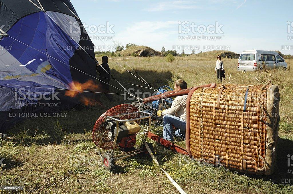 Pilot is preparing for launching balloon,Odessa,Ukraine royalty-free stock photo