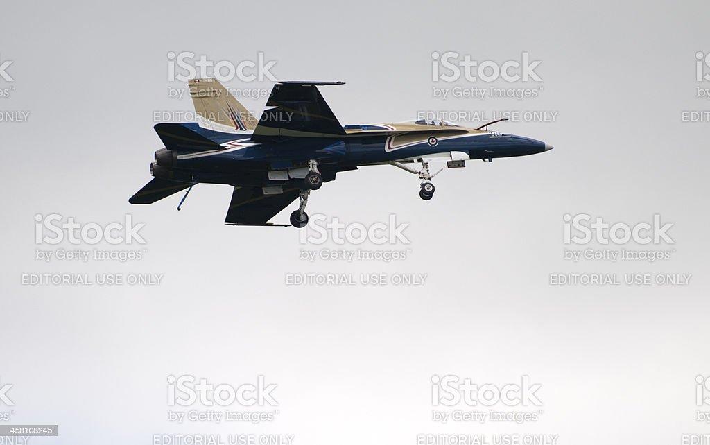 Pilot Landing a CF-18 stock photo