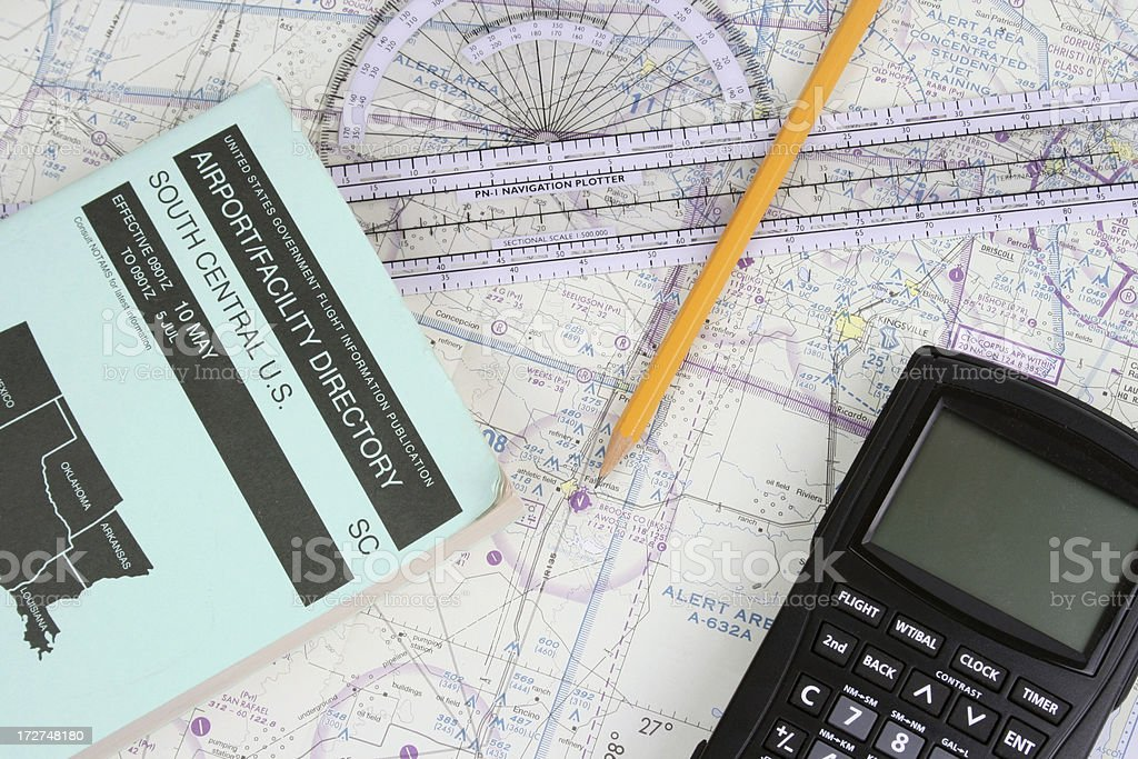 Pilot Navigation Supplies stock photo