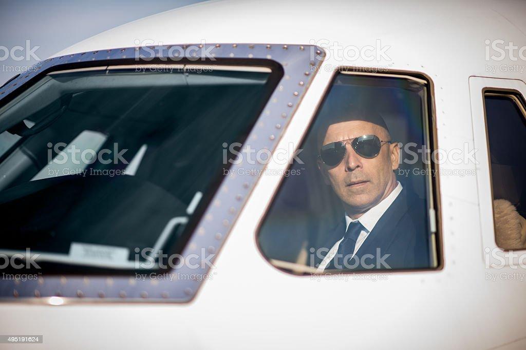 Pilot of private jet aeroplane stock photo