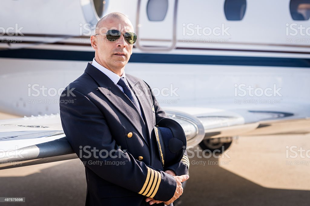 Pilot of private jet aeroplane stock photo