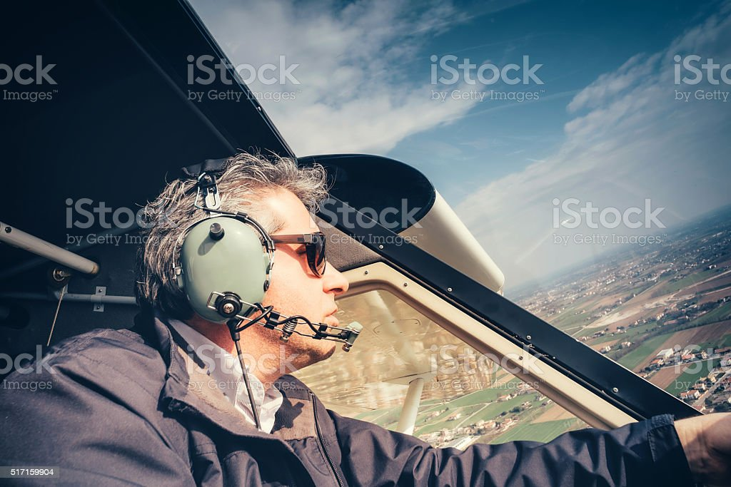 Pilot of ultralight aircraft stock photo