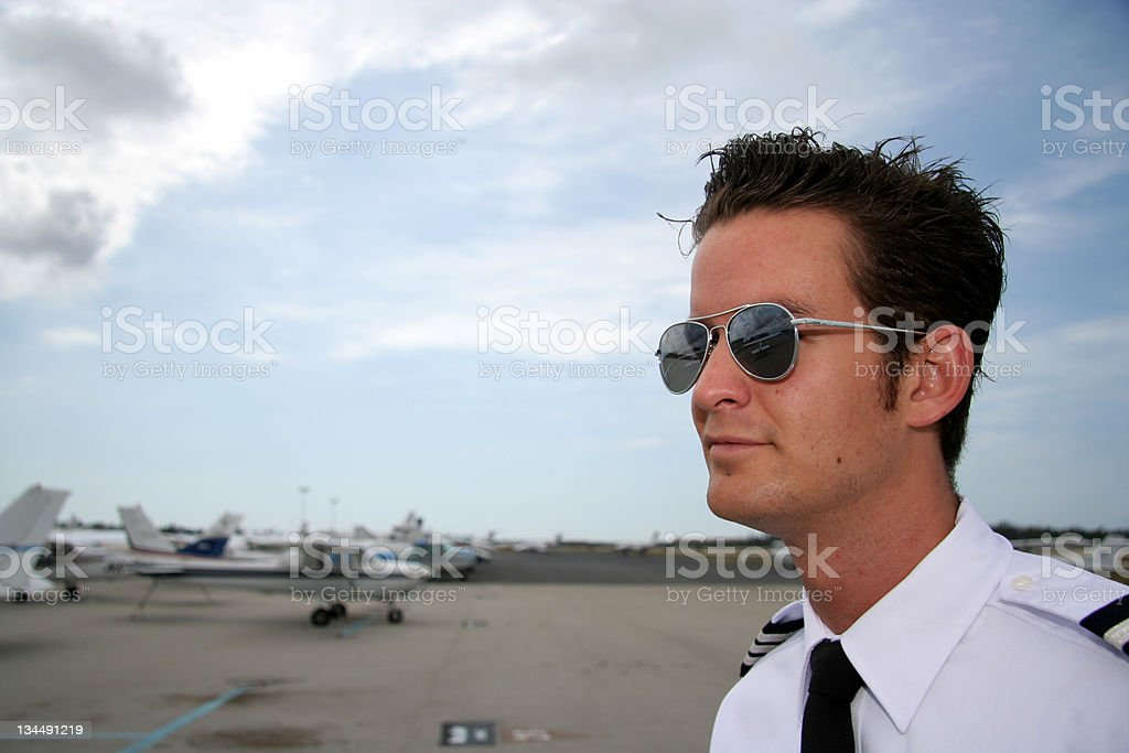 Pilot on the airport royalty-free stock photo