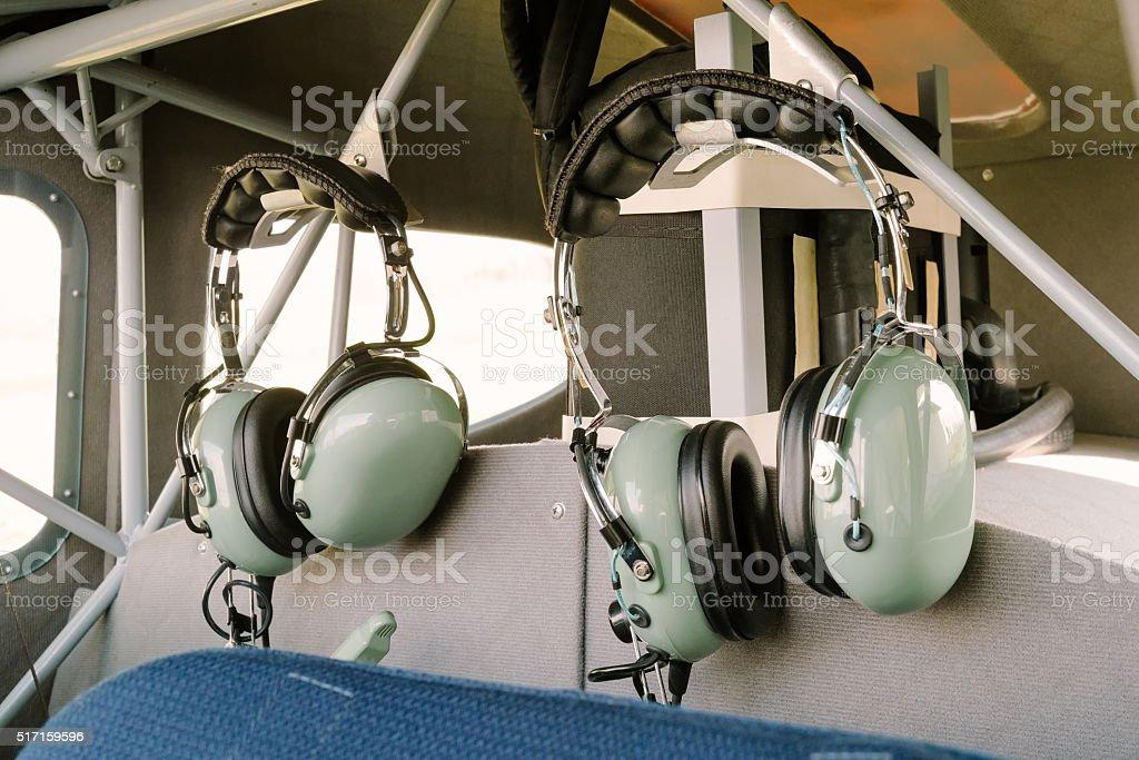 Pilot radio headphones stock photo