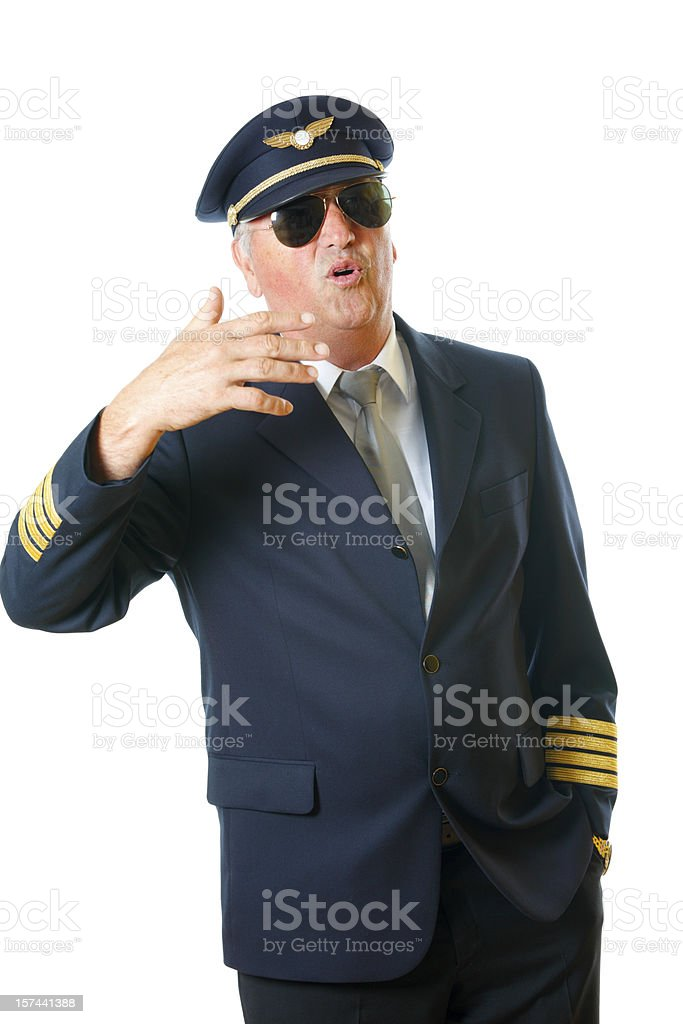 Pilot talking stock photo