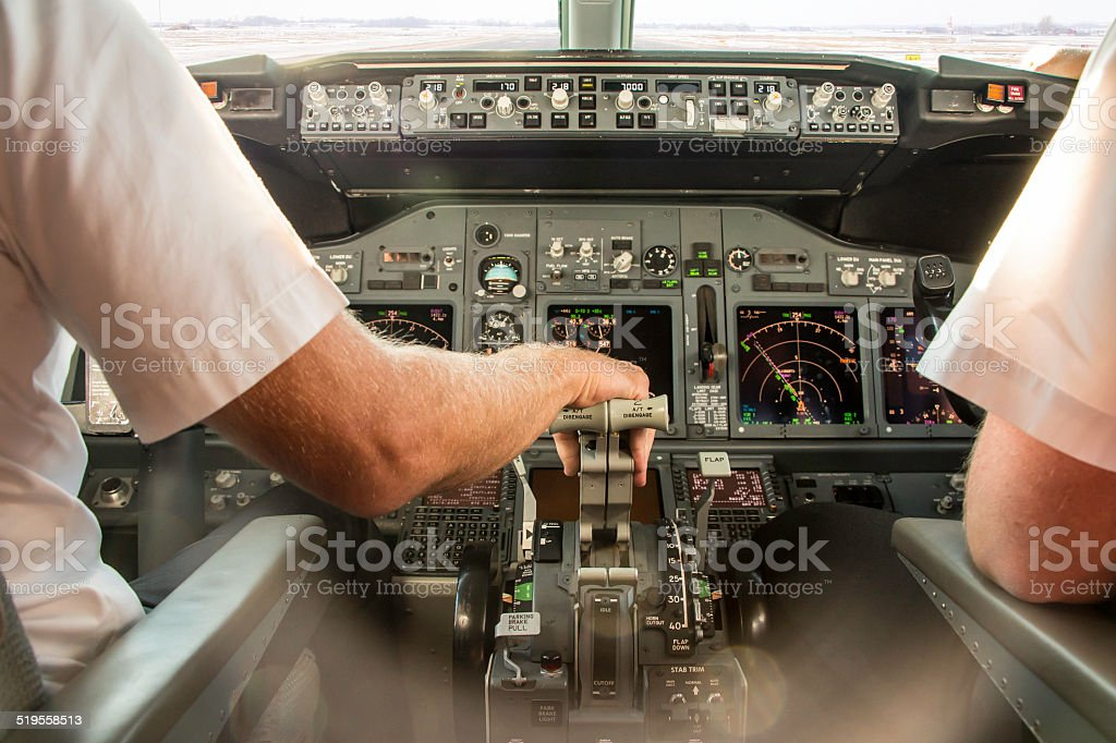 Pilot taxiing to the runway stock photo