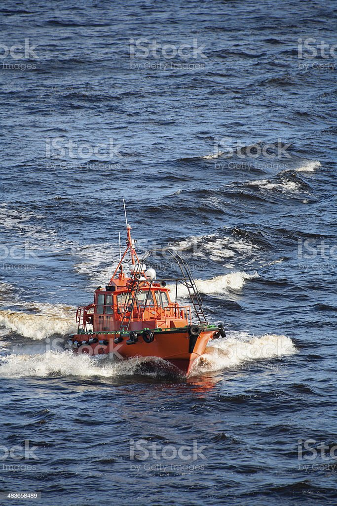 Pilot Vessel About to Approach a Ship stock photo