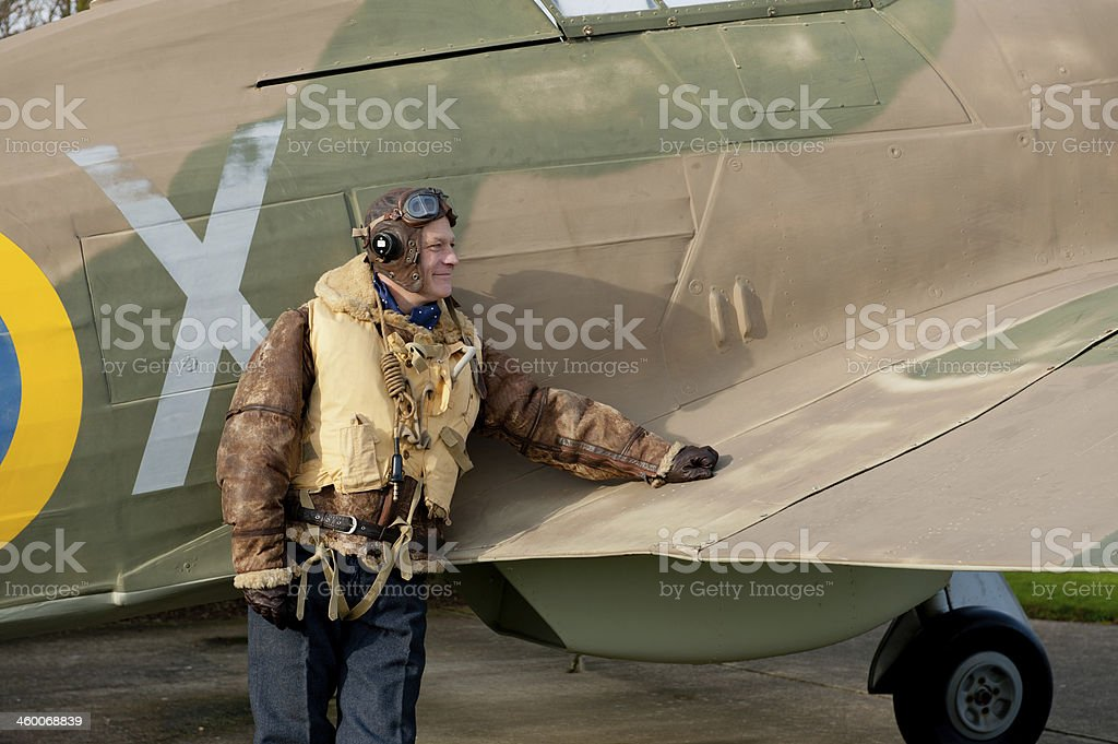 WW2 RAF Pilot With Hurricane Aircraft royalty-free stock photo