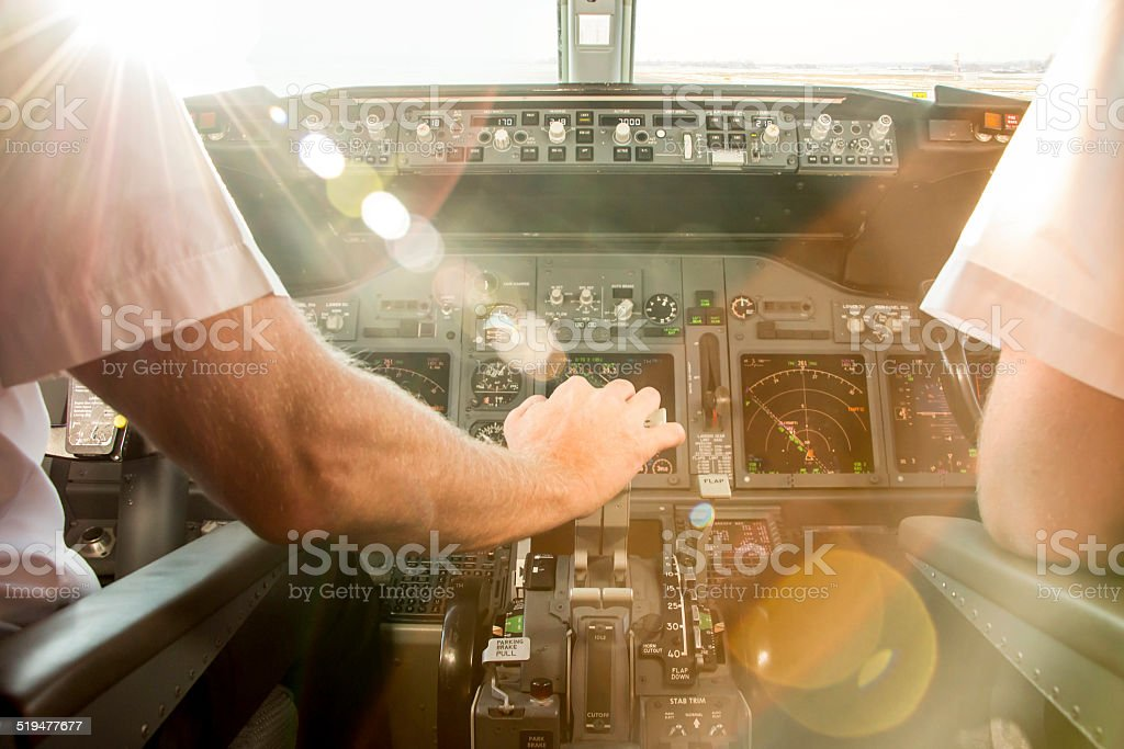 Pilots before take off stock photo