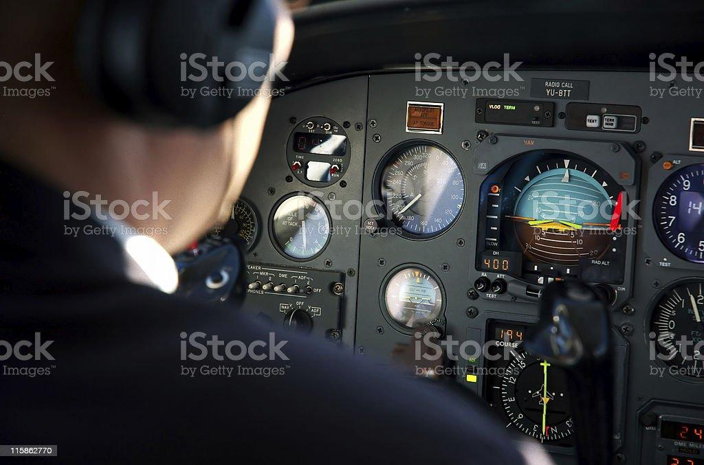 Pilots cabin stock photo