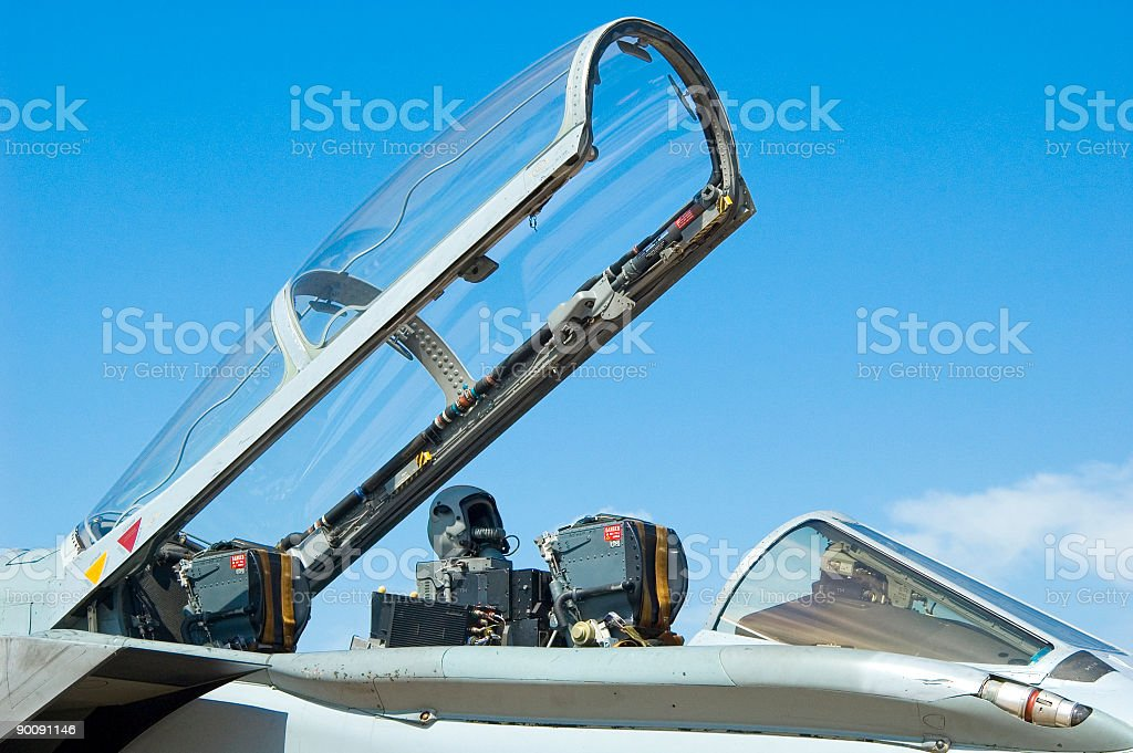 Pilot's helmet and ejector seat stock photo