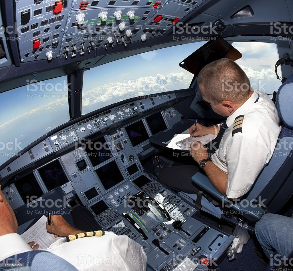 Pilots in the cockpit during a commercial flight royalty-free stock photo
