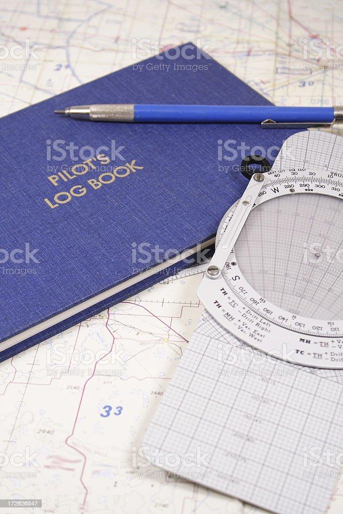 Pilot's Log Book stock photo