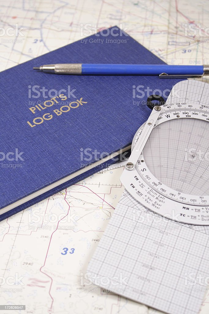 Pilot's Log Book stock photo