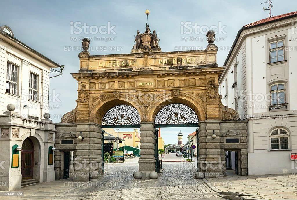 Pilsner Urquell Brewery in daylight, Czech Republic royalty-free stock photo