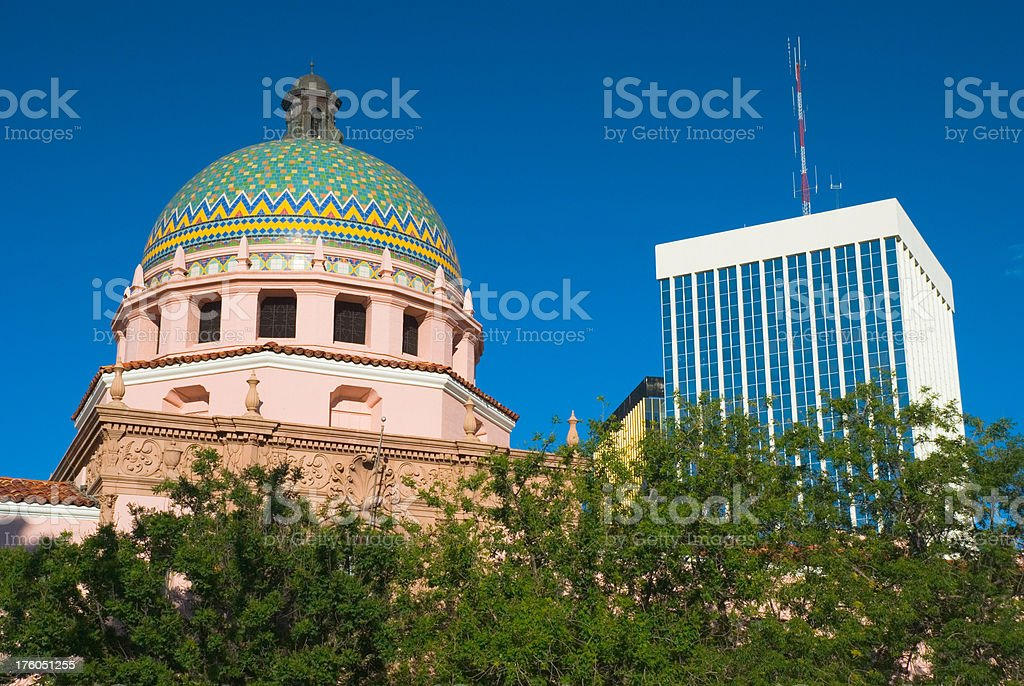 Pima County Courthouse and Tucson Downtown stock photo