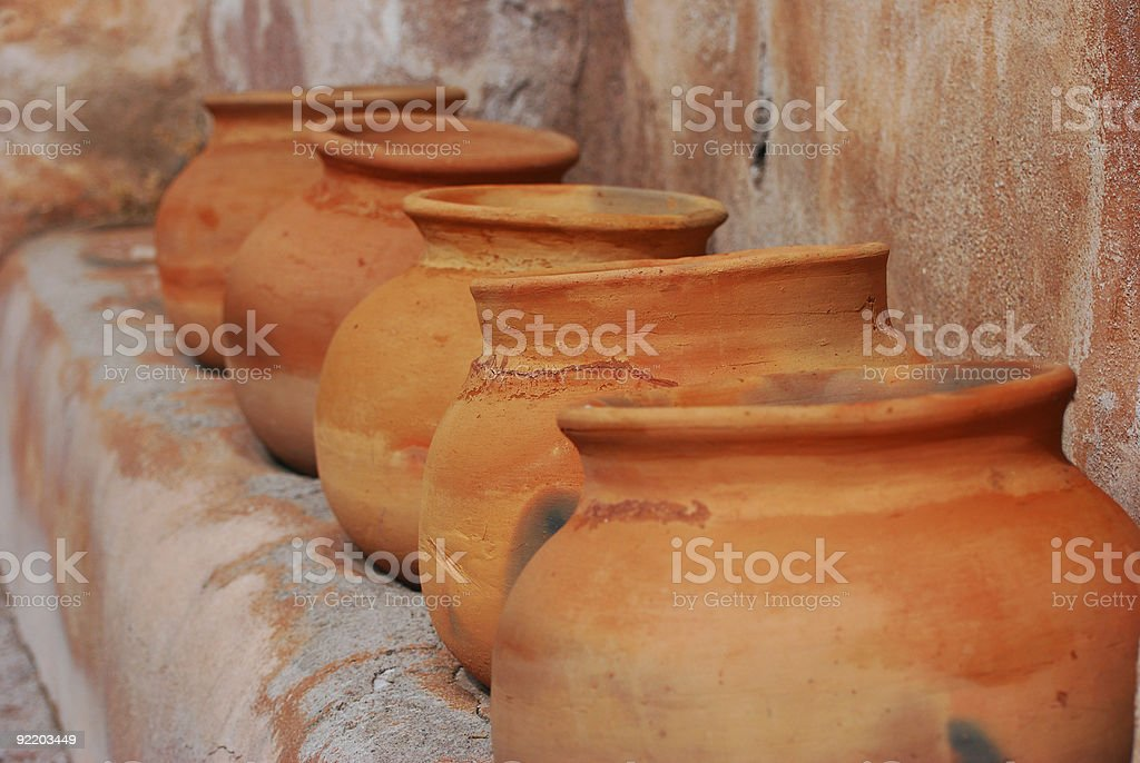 Pima Pottery at Tumacacori stock photo