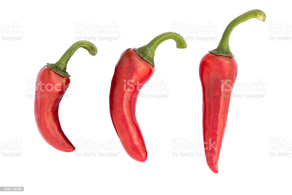 Piment d'Espelette: Popular french red Chili pepper isolated on white stock photo