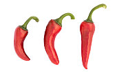 Piment d'Espelette: Popular french red Chili pepper isolated on white