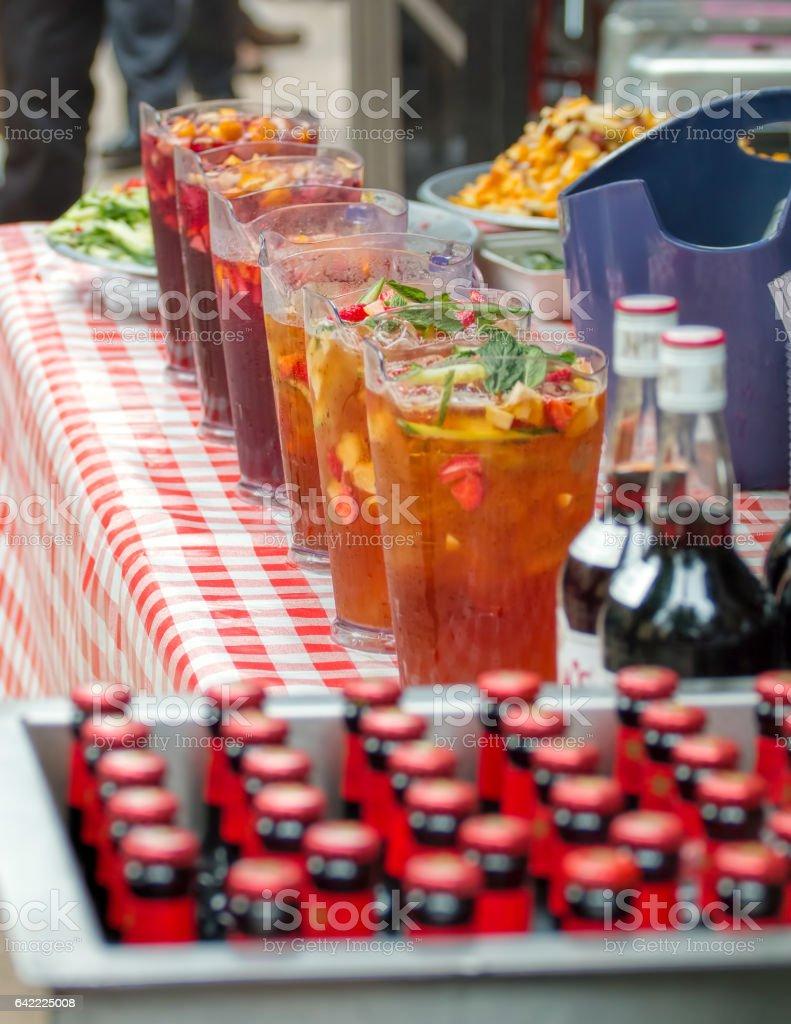 Pimm's Outdoor Summer Bar. Beer, Wine Drinks Service stock photo