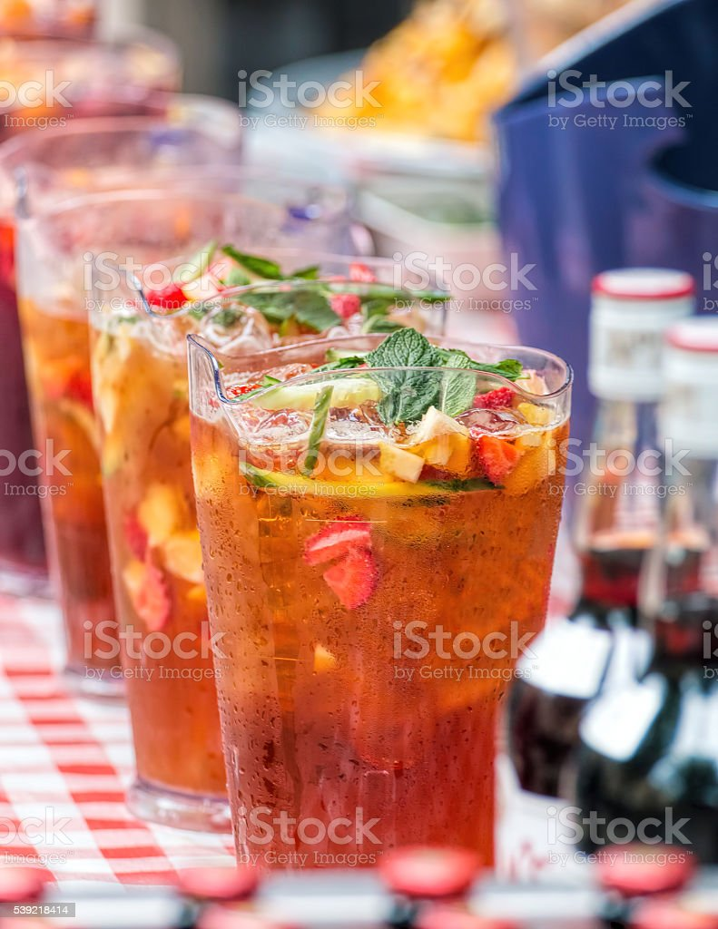 Pimm's Pitchers, Outdoor Summer Bar. stock photo