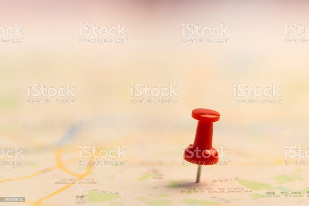 Oznaczenie miejsca na mapie. zbiór zdjęć royalty-free