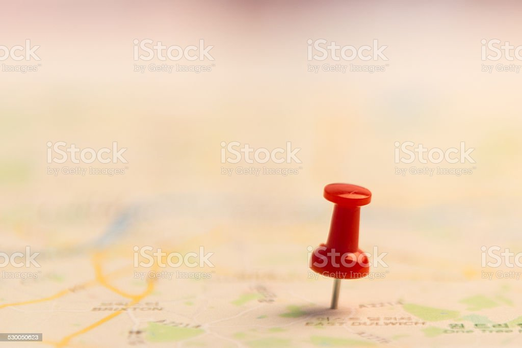 pin marking location on map. stock photo