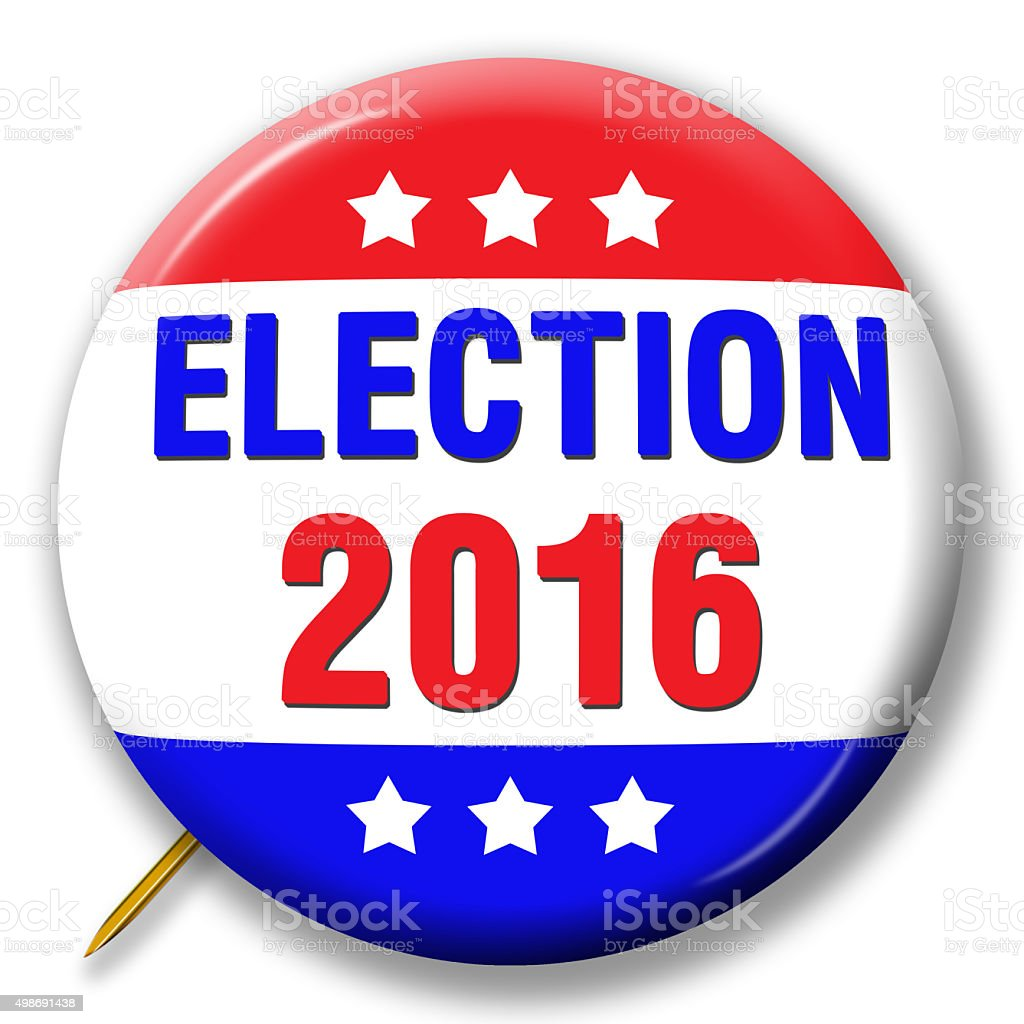 Pin symbolizing 2016 Election stock photo