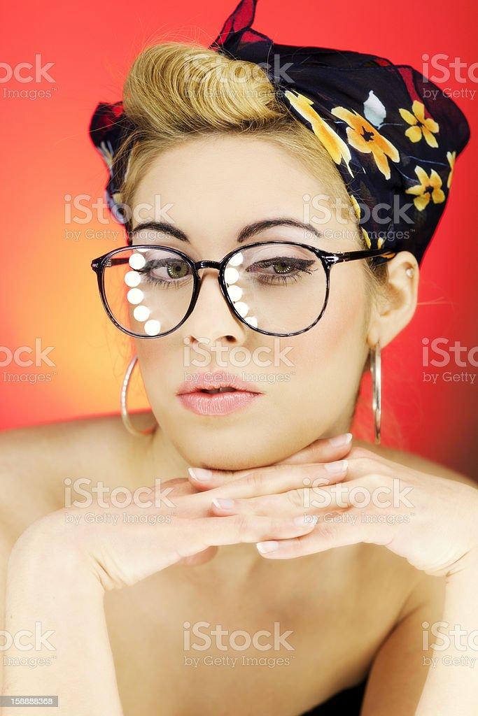 Pin Up Girl in Glasses royalty-free stock photo