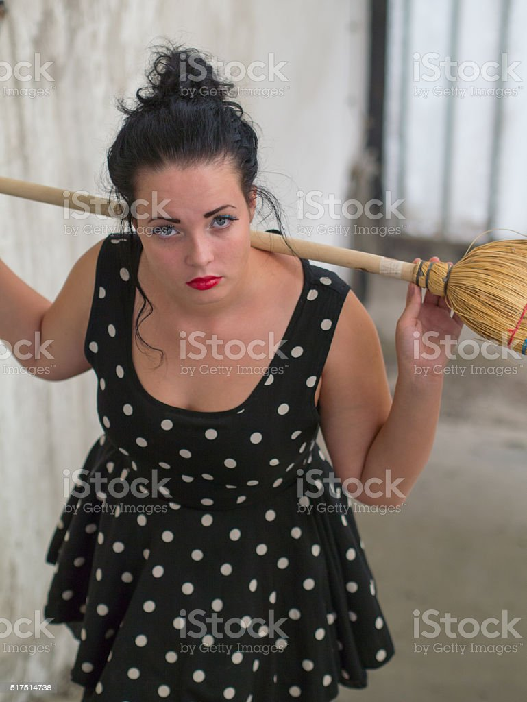 pin up girl on the abandoned room stock photo