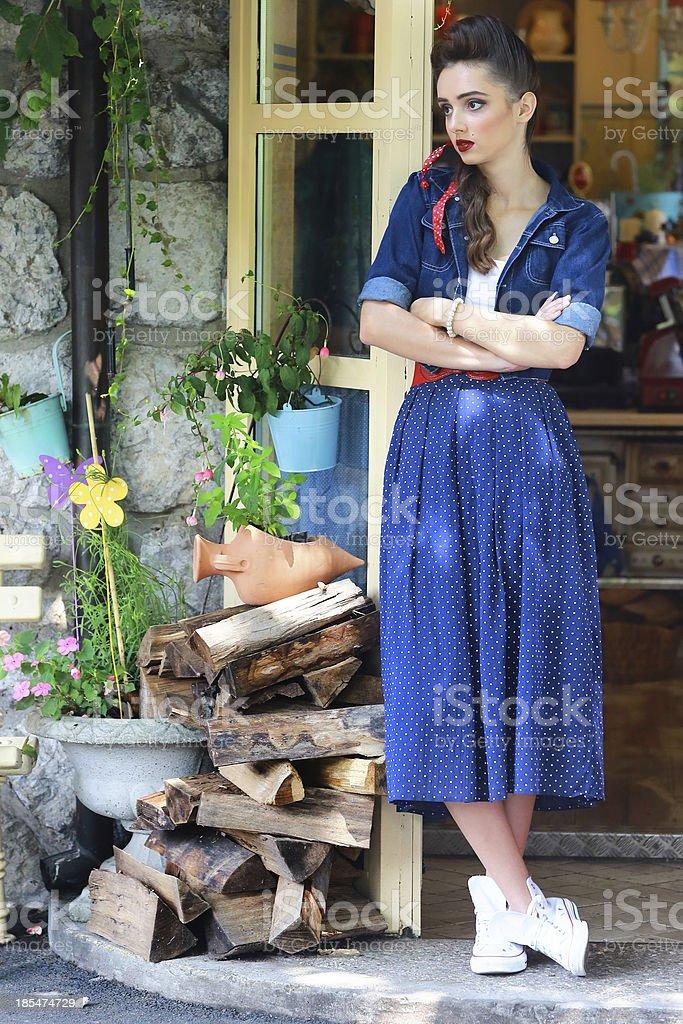 Pin Up Girl Waiting royalty-free stock photo