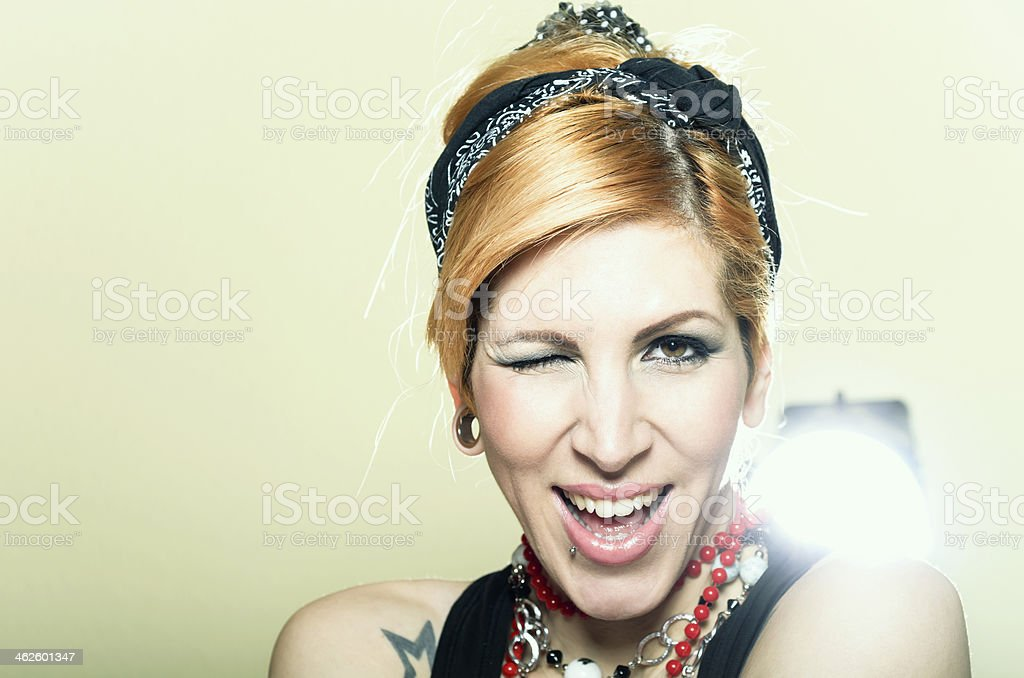 Pin up girl with tattoo royalty-free stock photo
