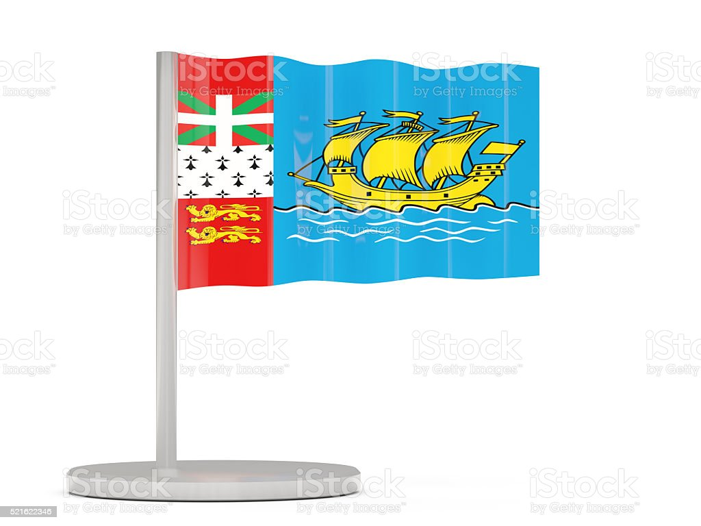 Pin with flag of saint pierre and miquelon stock photo