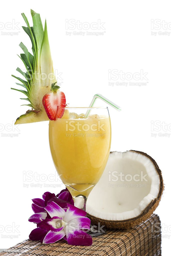 Pina colada and lei stock photo