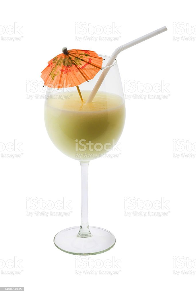Pina Colada Cocktail on a white background stock photo