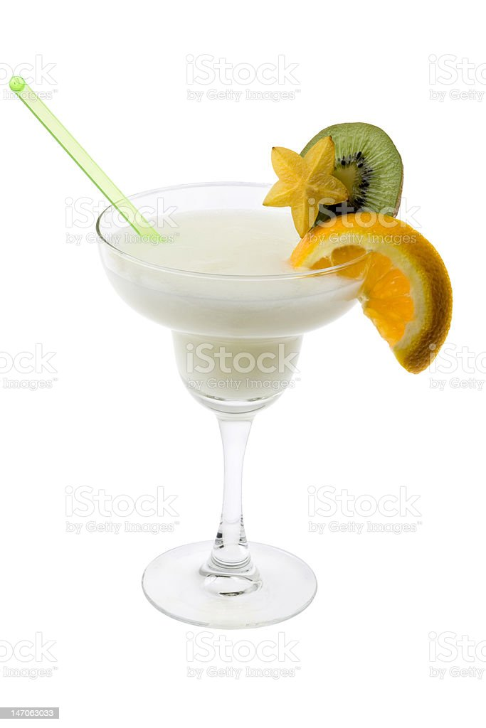 Pina Colada Cocotail on a white background stock photo