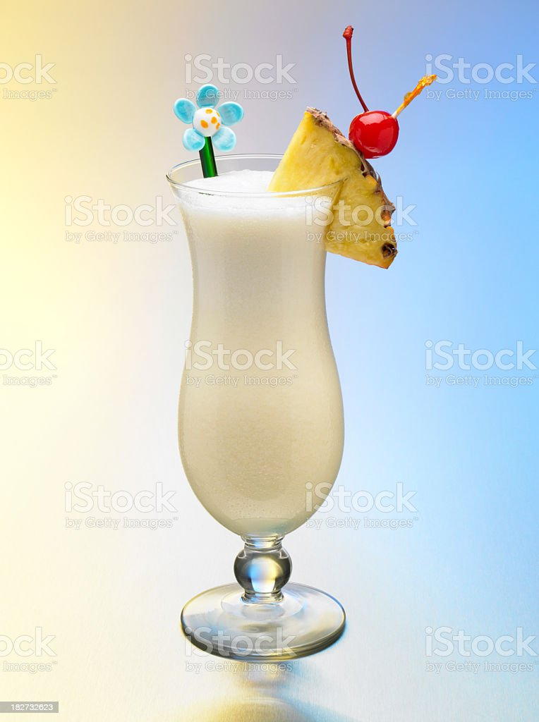 Pina Colada Tropical Drink on colorful background stock photo