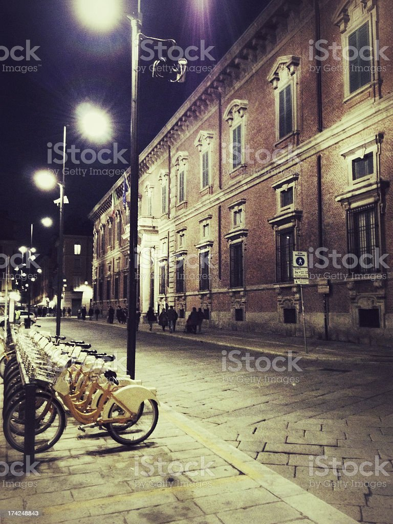 Pinacoteca di Brera at night, Milan stock photo