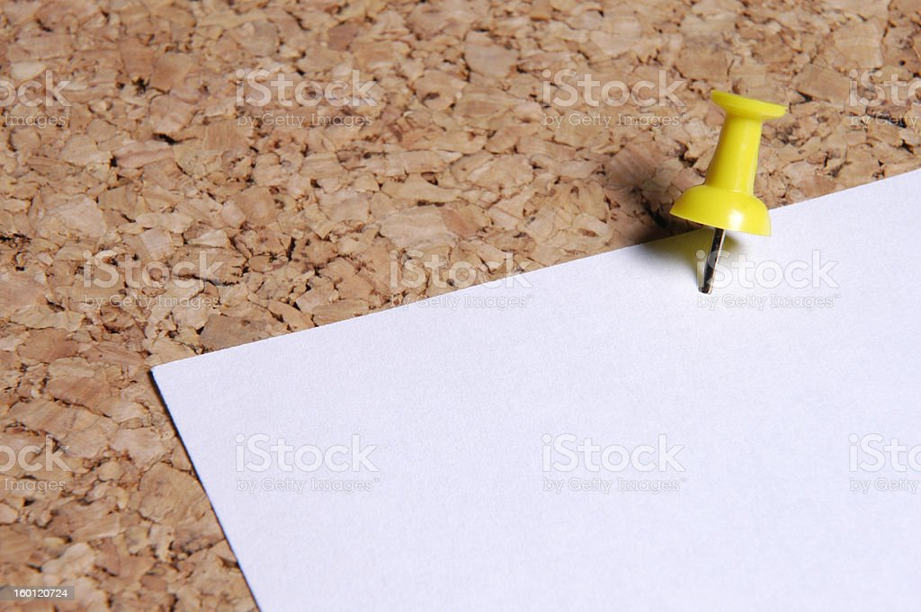 pinboard with an empty sheet stock photo