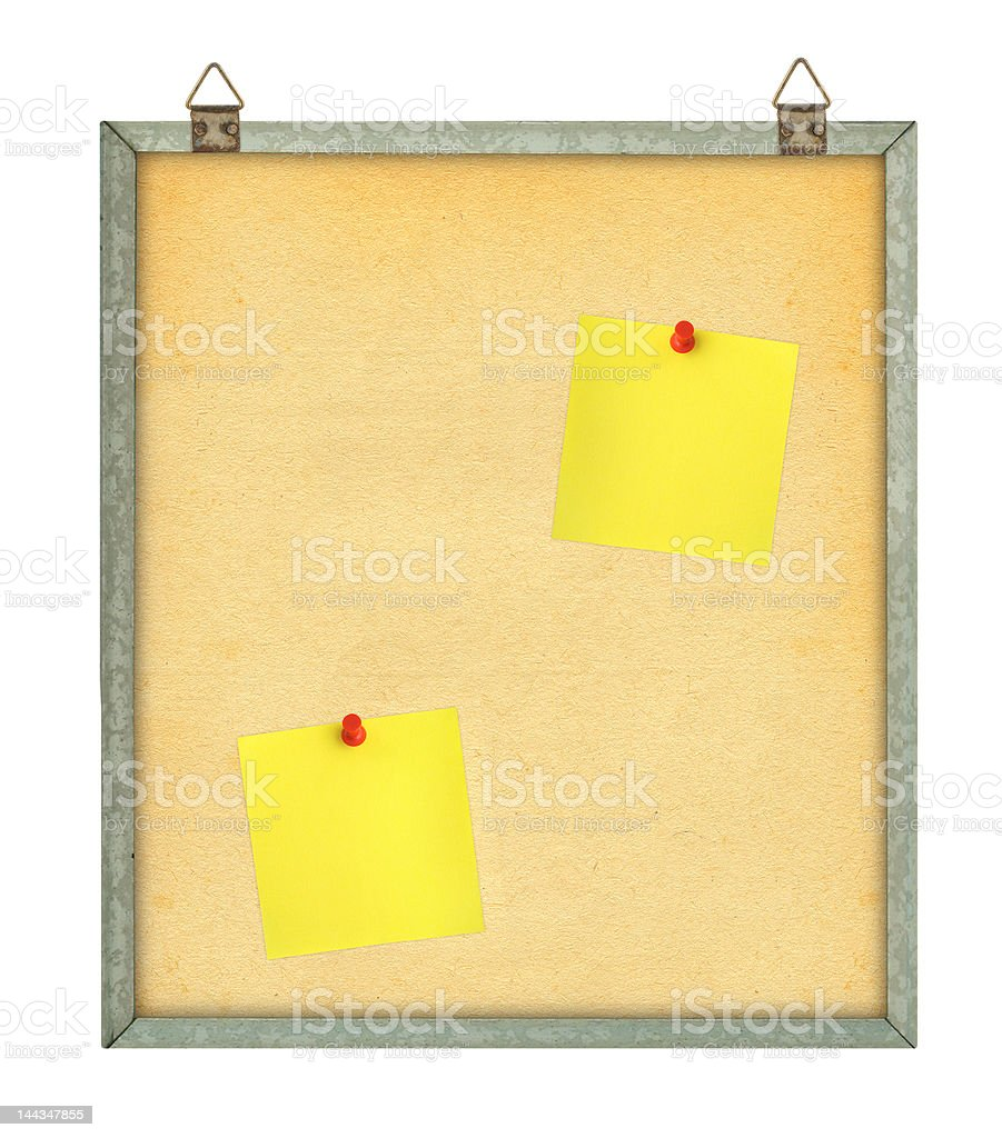 pinboard with yellow notes stock photo