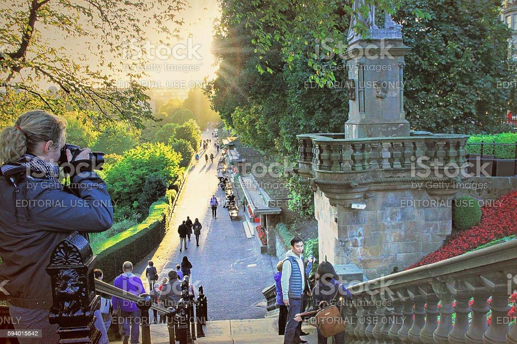 Pinces Street Gardens in Edinburgh, Scotland, UK. stock photo