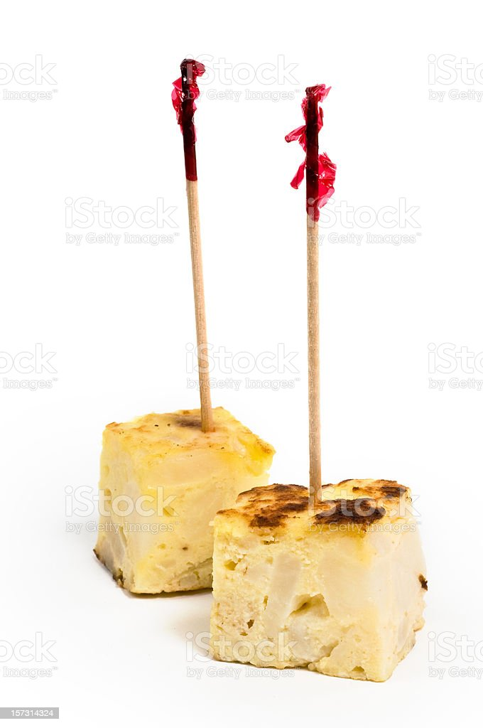 Pinchos de Tortilla (spanish omelet) stock photo