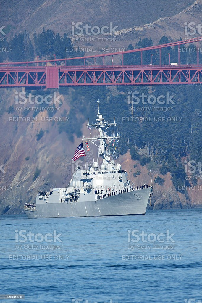 USS Pinckney Under the San Francisco Bay Bridge royalty-free stock photo