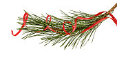 Pine branch and streamer, isolated on a white background