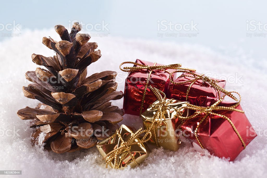 pine cone and red golden gift boxes royalty-free stock photo