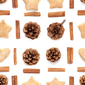 Pine cone, cinnamon, cookies christmas collection set pattern