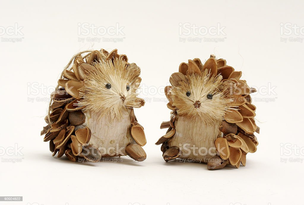 Pine Cone Hedgehogs stock photo