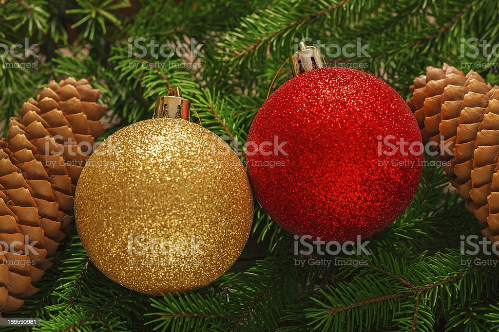 Pine cones and red bauble on pine branch royalty-free stock photo