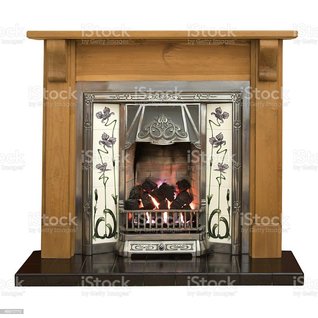 Pine fireplace royalty-free stock photo