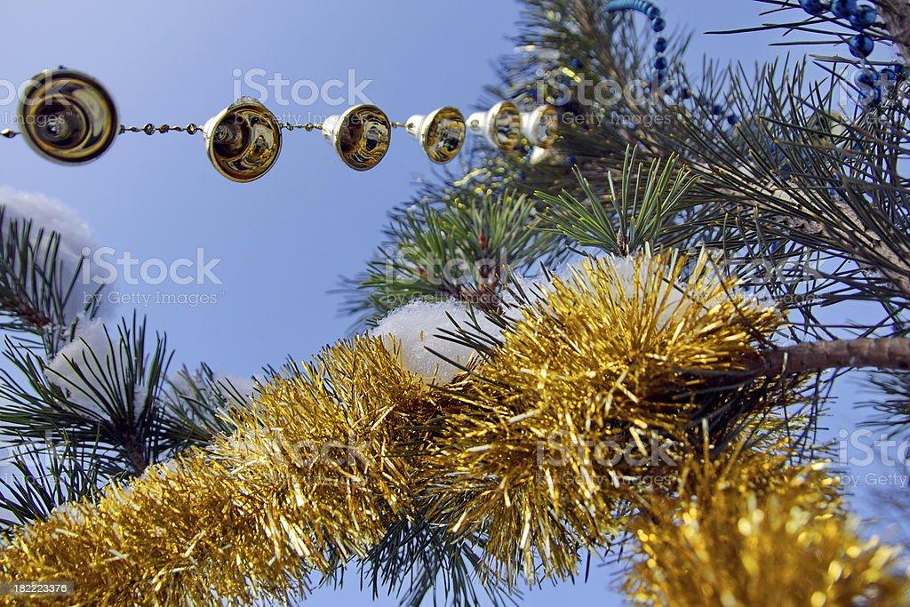 Pine, garland, bells  and snowflake. stock photo